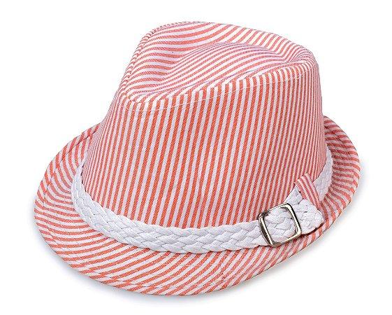 Chapéu Fedora Aba Curta Listrado Faixa Trançada Vermelho