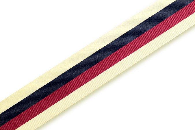 Faixa Creme Azul Marinho e Vermelha - Coleção Stripes