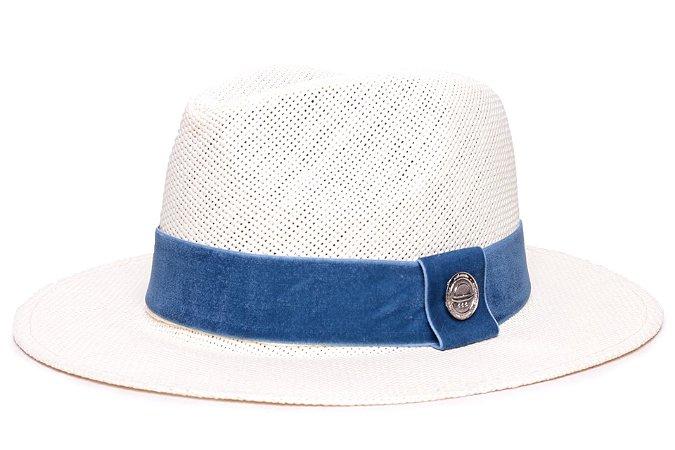 Chapéu Fedora Palha Rígida Creme Aba Média 6,5cm Faixa Azul Royal - Coleção Veludo