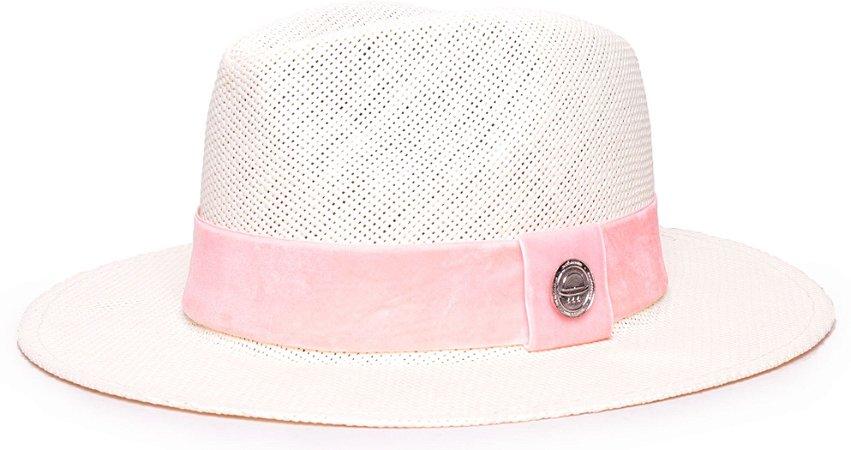 Chapéu Fedora Palha Rígida Creme Aba Média 6,5cm Faixa Rosa Claro - Coleção Veludo