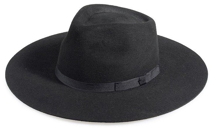 Chapéu Fedora Preto 100% Lã Aba Grande Premium Hats