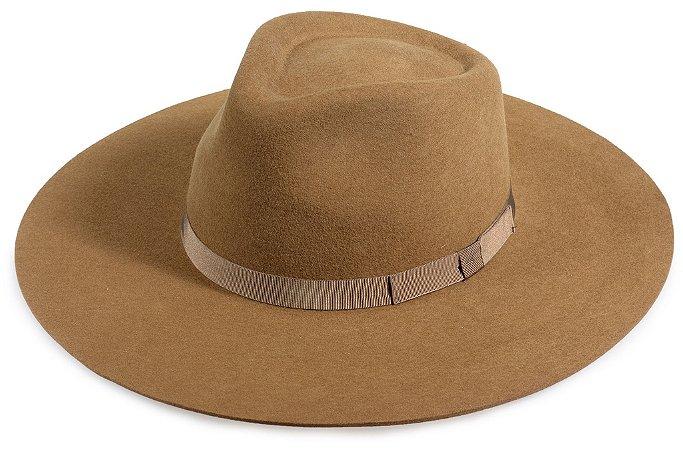 Chapéu Fedora Caramelo 100% Lã Aba 10cm Premium Hats