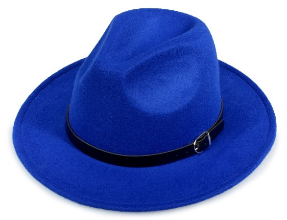 Chapéu Fedora Azul Feltro Aba 7cm