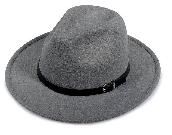 Chapéu Fedora Cinza Aba Média Faixa Preta Aba 7cm