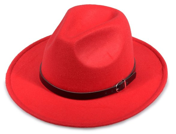 Chapéu Fedora Vermelho Feltro Aba 7cm