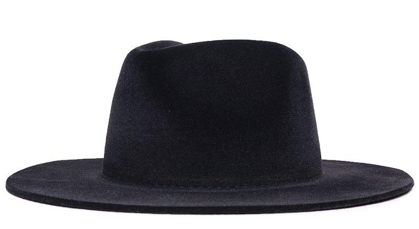 Chapéu Fedora Veludo Preto Aba Grande 8cm LISO