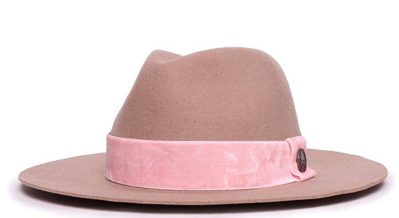 Chapéu Fedora 100% Lã Bege Aba 7cm Faixa Rosa Claro - Coleção Animale