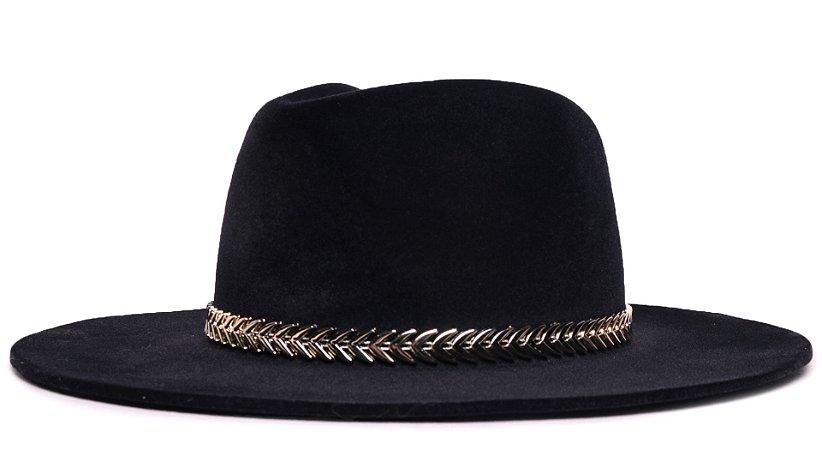 Chapéu Fedora Veludo Preto Aba Média Faixa Dourada - Coleção Metalizada