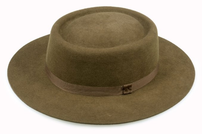 Chapéu Pork Pie Marrom 100% Lã Aba 6,5cm Premium Hats