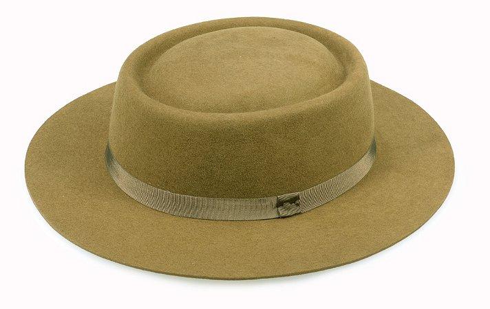 Chapéu Pork Pie caramelo 100% Lã Aba 6,5cm Premium Hats
