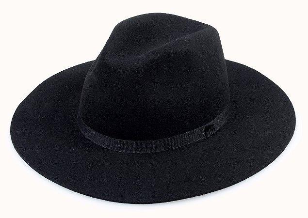 Chapéu Fedora Preto 100% Lã Aba 8cm Premium Hats