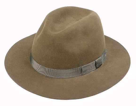 Chapéu Fedora Marrom 100% Lã Aba 6,5cm Premium Hats
