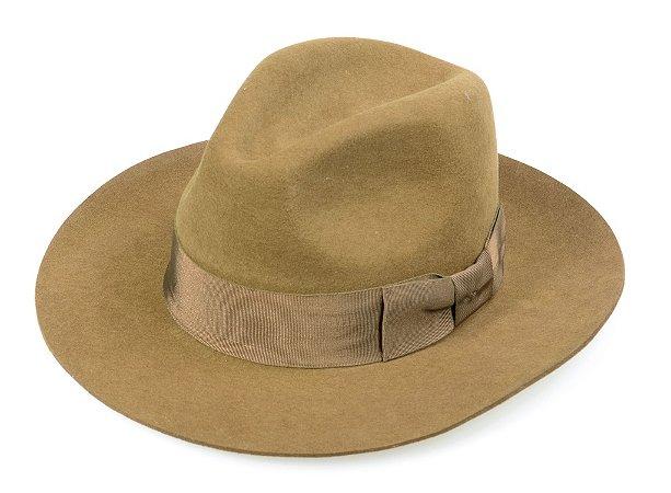 Chapéu Fedora Caramelo 100% Lã Aba 7cm Premium Hats