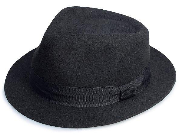 Chapéu Fedora Preto 100% Lã Aba 4cm Premium Hats