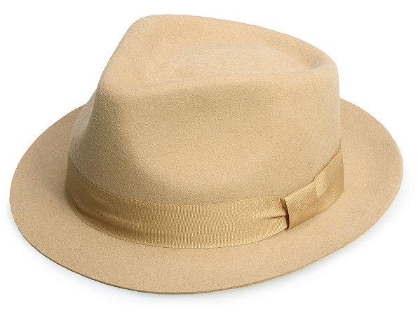 Chapéu Fedora Camel 100% Lã Aba 4cm Premium Hats