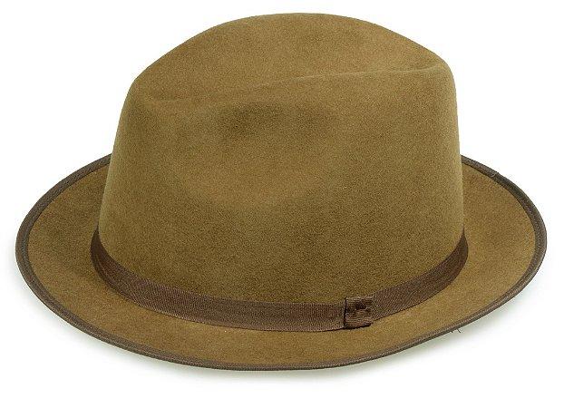 Chapéu Fedora Caramelo 100% Lã Aba 4cm Premium Hats