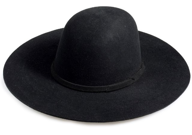 Chapéu Floppy Preto 100% Lã Aba Reta 10cm Premium Hats