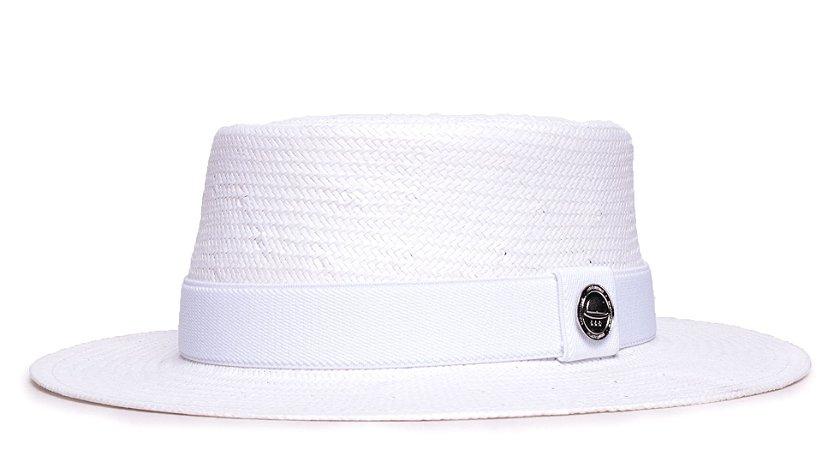 Chapéu Pork Pie Branco Aba Média 7cm Palha Shantung Faixa Branca - Coleção Elástica