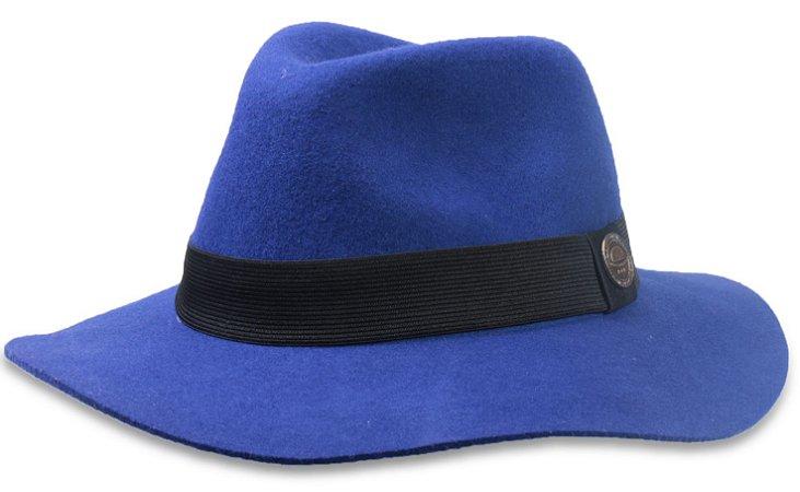 Chapéu Fedora Feminino Azul Royal  Aba Maleável  6,5 cm