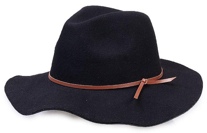 Chapéu Fedora Feminino Preto Aba Maleável 8cm Couro V Caramelo