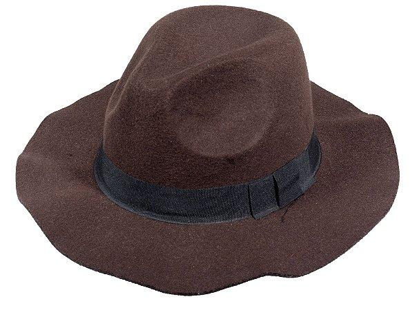 Chapéu Fedora Marrom  Aba Maleavel 8cm