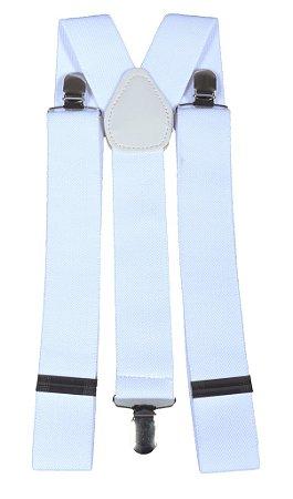 Suspensório Masculino Feminino Branco 3,5 cm