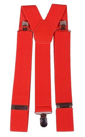 Suspensório Masculino Feminino Vermelho 3,5 cm
