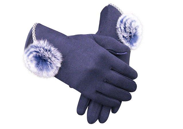 Luva Lisa Azul Marinho Pom Pom