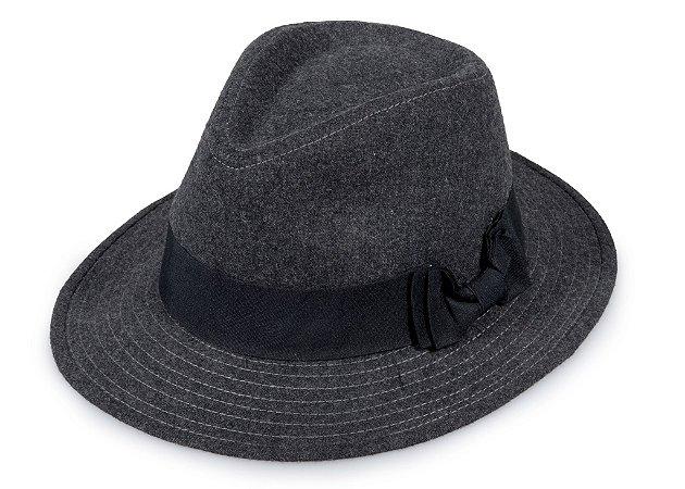 Chapéu Fedora Feltro Cinza Escuro Aba 6cm