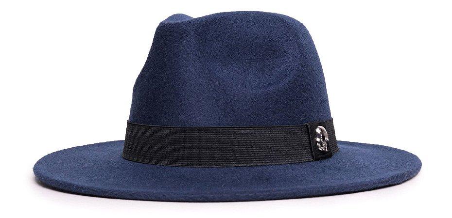 Chapéu Fedora Aba Media 7cm Feltro Azul Marinho Faixa Preta - Coleção Skull