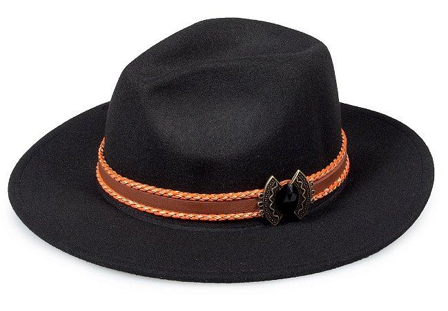 Chapéu Fedora Customizado Faixa Laranja Pedra Preta Custom Hats