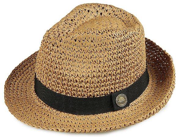 Chapéu Fedora Palha Caramelo Aba 5,5 cm
