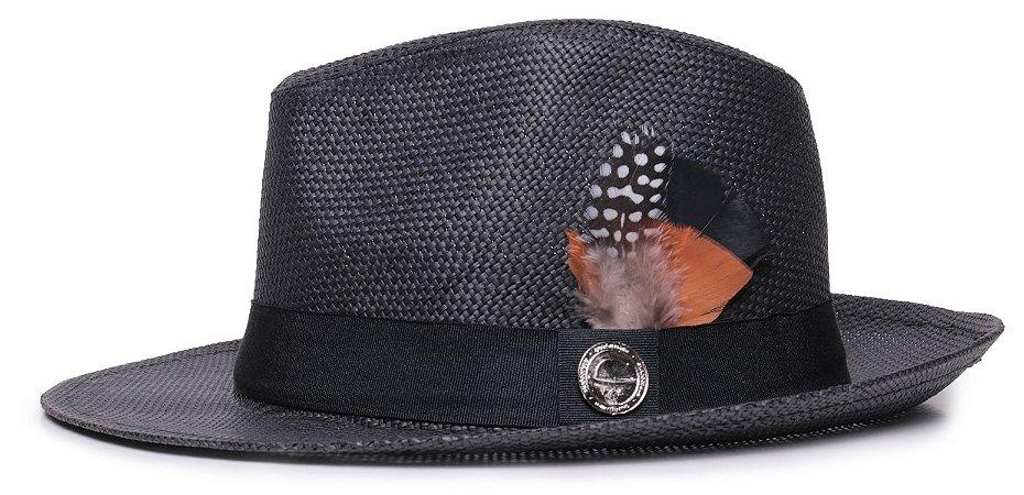 Chapéu Estilo Panamá Aba Média 6,5cm Palha Preto Faixa Clássica 3 Penas - Coleção Pena