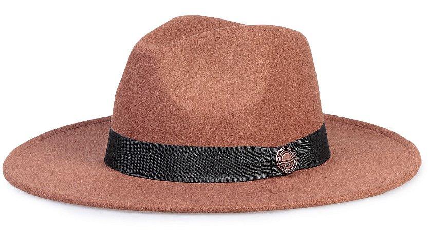 Chapéu Fedora Caramelo Faixa Preta Aba Reta 8cm Clássico