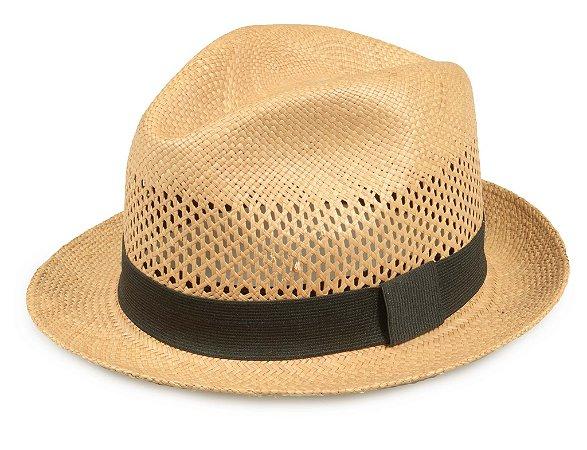 Chapéu Panamá Palha Caramelo Vazado Aba 5cm