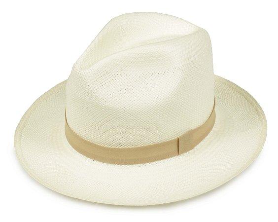 Chapéu Panamá Creme Faixa Bege