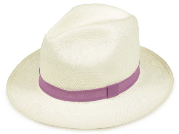 Chapéu Panamá Creme Faixa Roxa