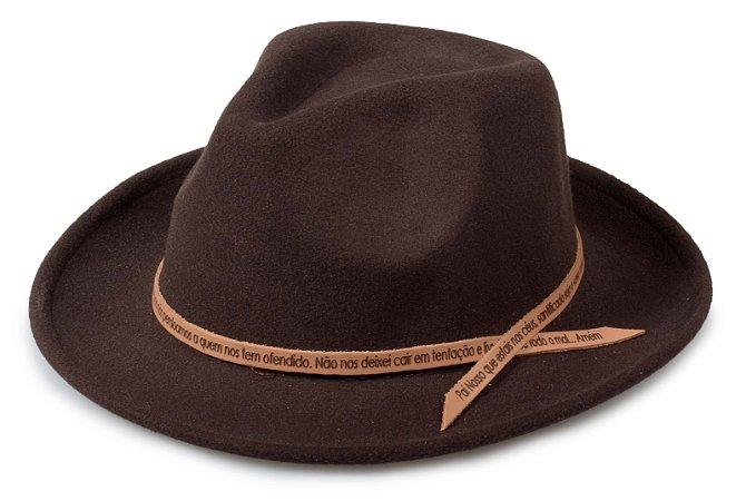 Chapéu Fedora Marrom Customizado Pai Nosso Caramelo Custom Hats
