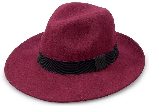 Chapéu Fedora Vinho Faixa preta Aba 8cm