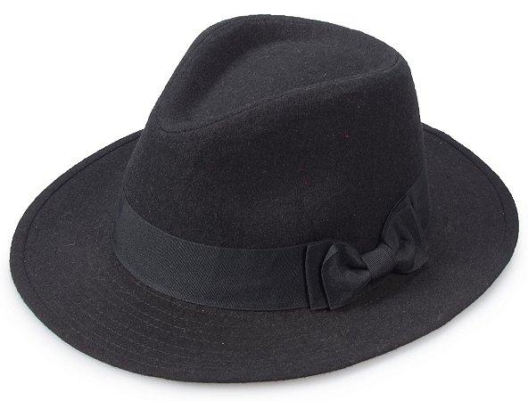 Chapéu Fedora Feltro Preto Aba 6,5cm