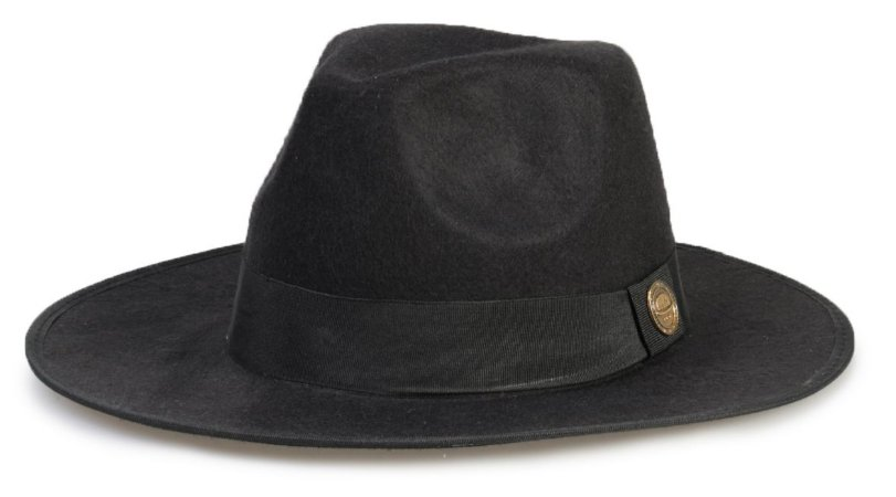 Chapéu Fedora Preto Aba Maleável 7cm Feltro com Debrum na Aba Clássico