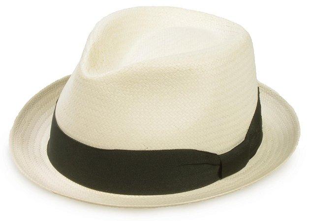 Chapéu Fedora Creme Estilo Panamá Palha Sintética Faixa Preta Aba 4cm