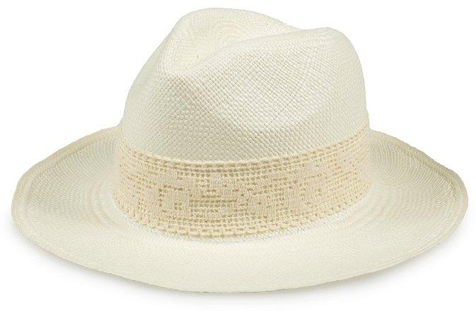 Chapéu Panamá Creme Faixa Rendada