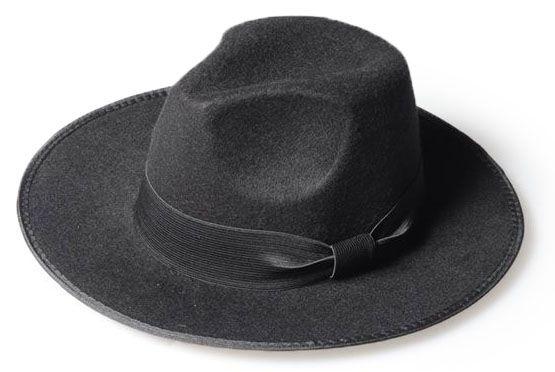 Chapéu Fedora Preto Clássico Aba Média Laço