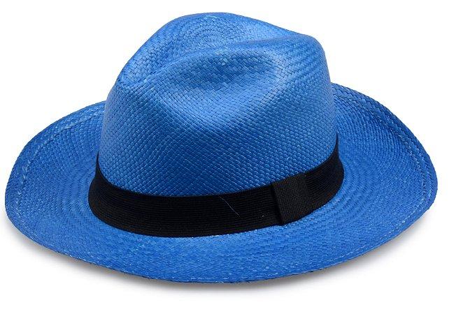Chapéu Panamá Azul Royal Aba Média Edição Limitada