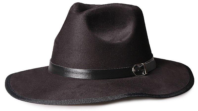 Chapéu Fedora Preto Nobuck Aba Maleável 8cm Cinto