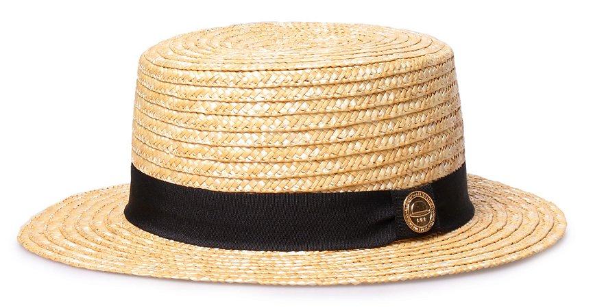 Chapéu Boater Palheta Palha Dourada Aba curta 5cm clássico
