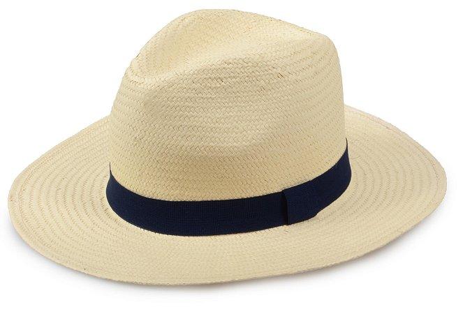 Chapéu Panamá Sintético Bege Faixa Azul Marinho