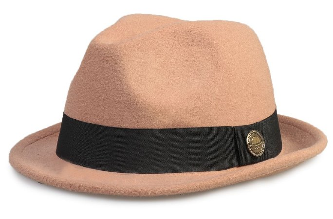 Chapéu Fedora Bege Aba Curta Curva 4cm - Compre com quem é ... 0d1dd92594a