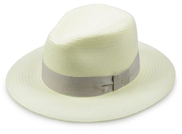 Chapéu Fedora Palha Creme Faixa Cinza Aba 7cm Proteção UV